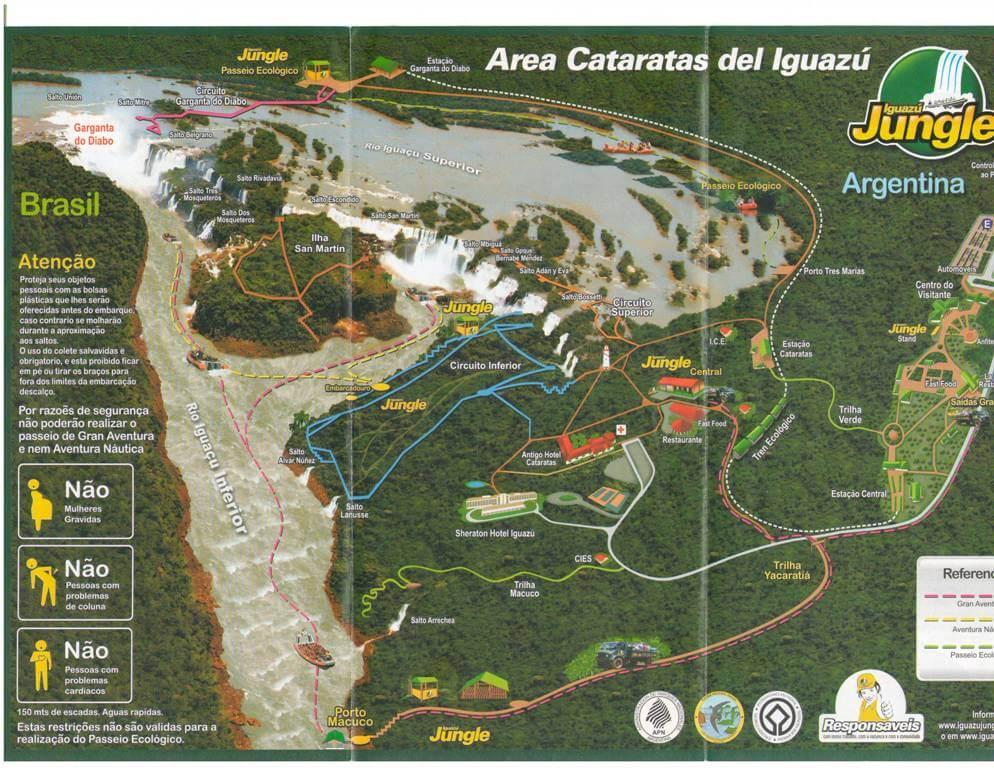 Mapa das Cataratas do Iguaçu no lado argentino.