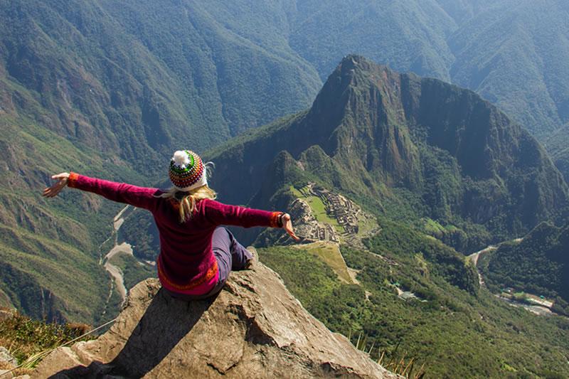 Vista da Montanha Machu Picchu para a Cidadela de Machu Picchu